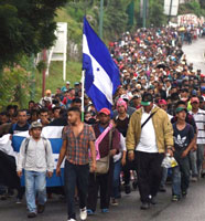 Caravan with Honduran flag