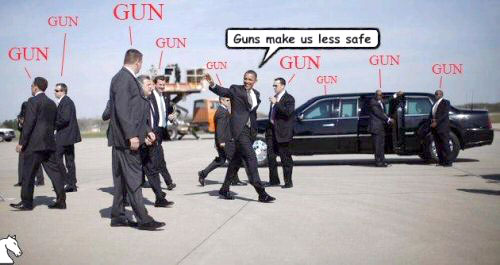 Obama is surrounded by guns